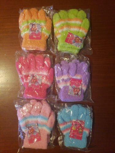 NEW 6 pair Kids Children Winter Warm Knit Knitted Casual Gloves Stretch 2-6 yrs