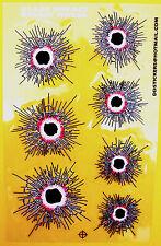 Aufkleber Sticker - GLAS IMPACT BULLET HOLES Einschusslöcher rot transparent#207
