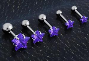 Stainless-Steel-Purple-Tragus-Cartilage-Piercing-Stud-Earring-Ear-Ring-Jewelry