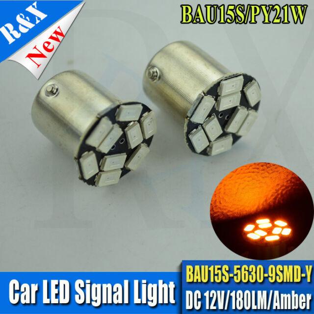 2x Amber 9 SMD 5630 180LM bulbs BAU15S INDICATOR SIGNAL BULB FRONT 581 PY21W LED