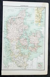 1890-Bartholomew-Large-Original-Antique-Map-of-Denmark