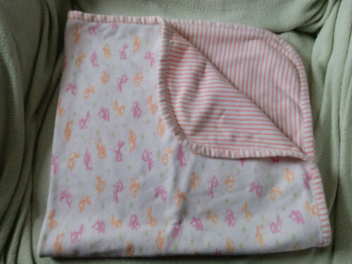 CARTERS BABY TYKES CUDDLY BUNNY BLANKET PINK ORANGE STRIPE STRIPED PRINT COTTON