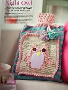 Owl Hot Water Bottle Cover Knitting Pattern : KNITTING PATTERN Cute Night Owl Hot Water Bottle Cover Owl Motif & Charm ...