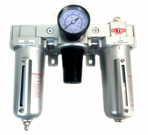 1/2 COMBO PARTICULATE FILTER REGULATOR LUBRICATOR COMPRESSED AIR Manual Drain