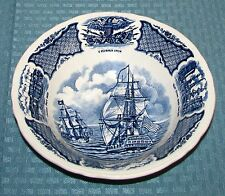 """Alfred Meakin Eng. Fair Winds Blue 8 1/2"""" 1 Qt Round Macedonia Serving Bowl VGD"""
