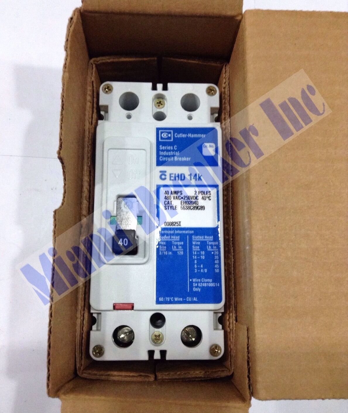 CUTLER HAMMER EHD2020 NEW THERMAL MAGNETIC CIRCUIT BREAKER 20A 2 POLE 480 VAC