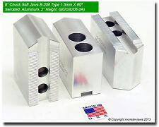 6 Aluminum Soft Jaws 15mm X 60 Serrated For B 206 Type Lathe Chucks 20 Ht