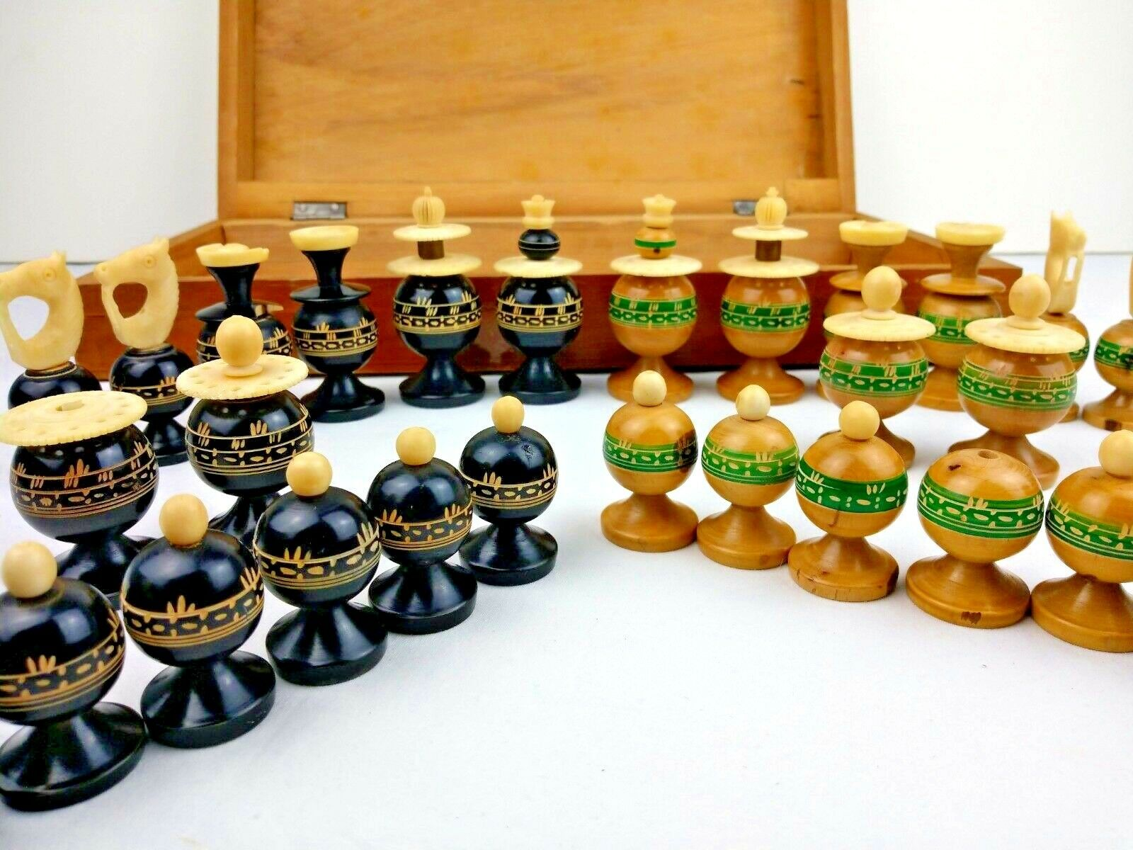 Vintage He Crafted Wood & Bone Mexican Folk Art Chess Pieces