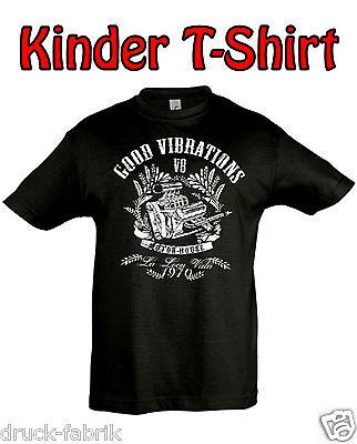 Kinder T-Shirt V8 Power US Muscle Car Hot Rod Motorrad Biker Shirt Motor Rocker