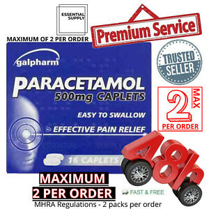16-Headache-Migraine-Back-Pain-Relief-Painkillers-500mg-Caplets-Paracetmol