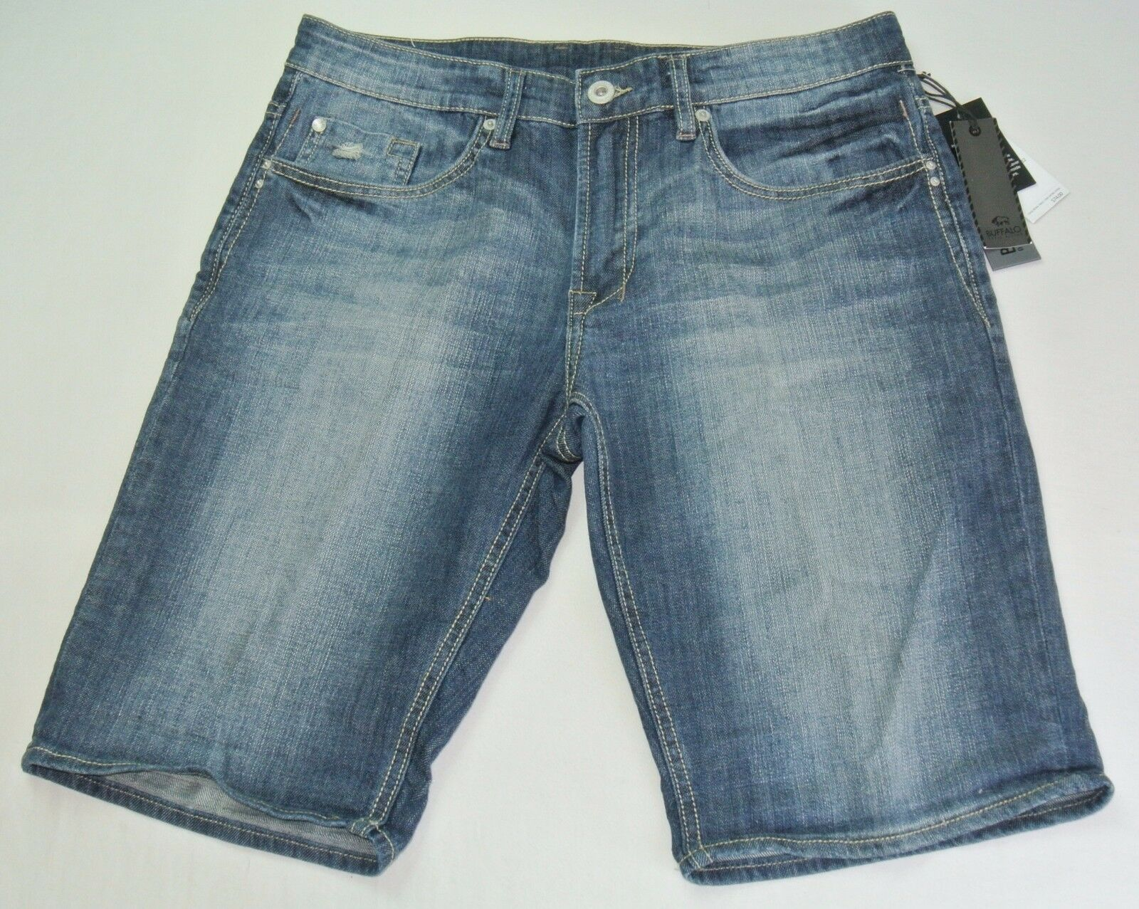 Buffalo Men's Shorts Short Jeans Pants 32 bluee Six-x Basic Stretch Bleached New