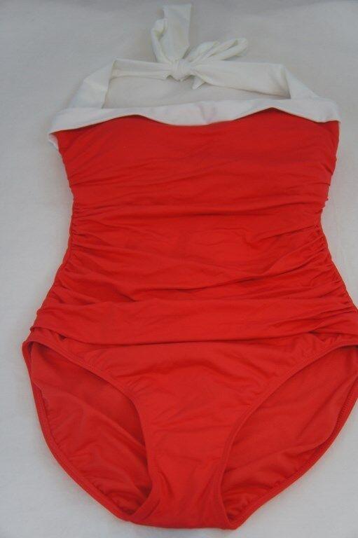 Ralph Lauren Swim One Piece Sz 8 Coral orange Bel Aire Halter Swimsuit LR5F611