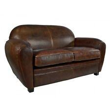 Art Deco Sofa 2-Sitzer Vintage Cigar Leder Möbel Ledersofa Clubsofa Couch