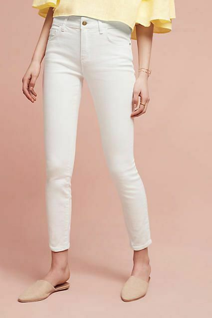 Anthropologie Pilcro Script high rise skinny jeans Weiß sz 26