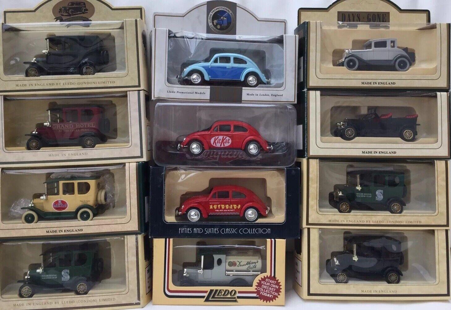 14 LLEDO Corgi DG LP Ford RR VW cars Kit Kat Cardrop Duckhams DAF Museum Singer