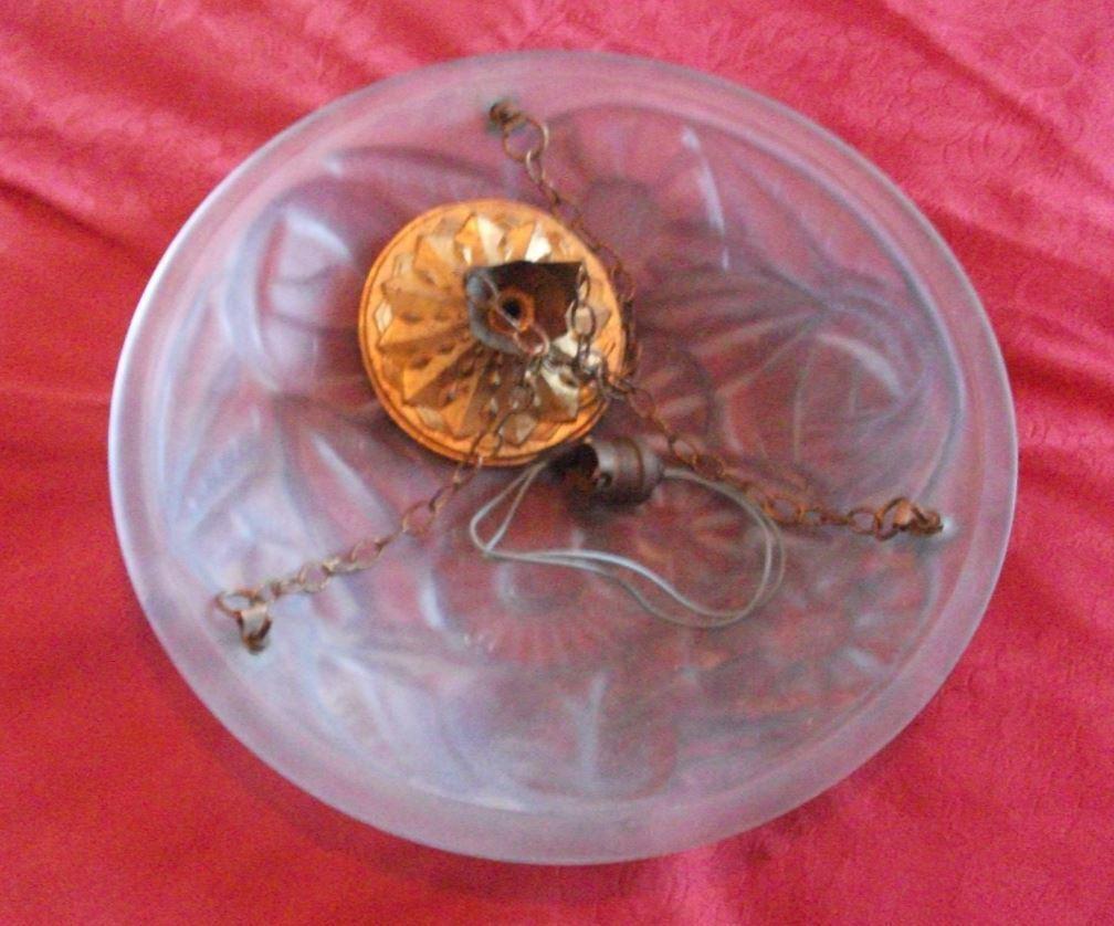 DEGUE : florale suspension plafonnier vasque verre moulé déco florale : 1930 Art déco d83daf