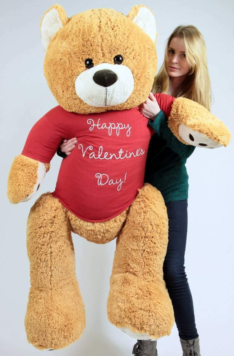 Big Plush Giant 5 Foot Teddy Bear Wears T-shirt that says HAPPY VALENTINES DAY