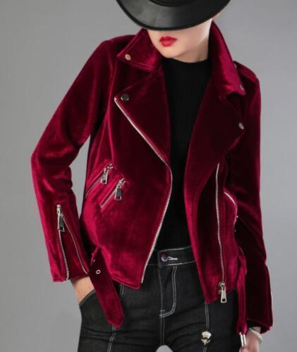 Shorts Kvinders Toppe X144 Slim Zipper Jakke Overcoat Frakker Velvet Motorsykkel UqqOxd6w