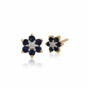 9ct-Yellow-Gold-0-43ct-Genuine-Sapphire-amp-Diamond-Flower-Cluster-Stud-Earrings