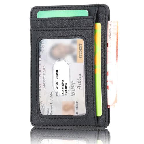 Mens RFID Blocking Leather Slim Wallet Money Clip Credit Card Holder Coin/_Pocket