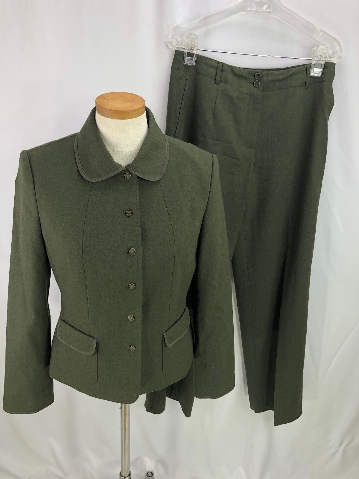 Talbots Womens Green Wool Blend 2 Piece Pant Suit 6