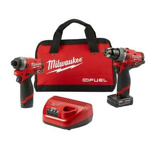Milwaukee-2598-22-M12-FUEL-2-Tool-Hammer-Drill-amp-Hex-Impact-Driver-Kit-NEW