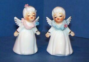 """Vintage Pair Mini 2"""" Napco Christmas Angels Figurines w/Spaghetti Trim"""