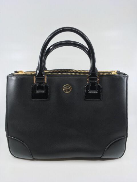 Tory Burch Women s Robinson Double Zip Tote Black Saffiano Leather Gold  Trims 4289c175e26d2