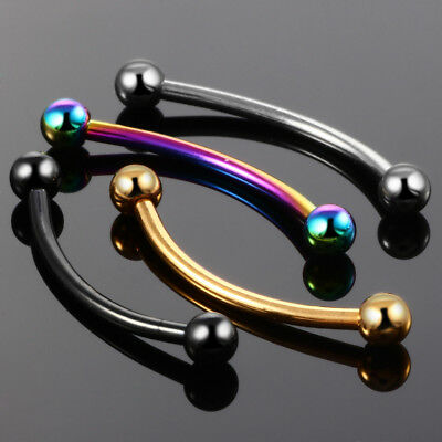 """5//8/"""" 9//16/"""" Snake Eyes Piercing Tongue Smiley Curve Barbell Surgical Steel Ring"""