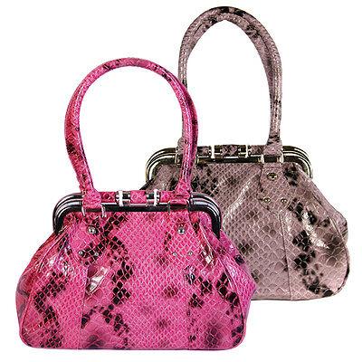 Damen Mädchen Purpurrot Kunst Schlangenhaut Schulranzen Metallrahmen Tasche