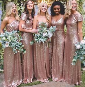 Blush Pink Long Mermaid Sequins Rose Gold Bridesmaid Dress Multi ...