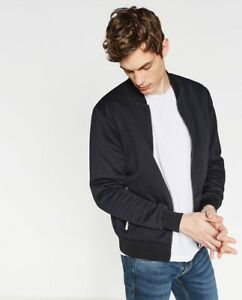 efcd3f4fd Details about NWOT Zara Man Very Dark Navy Blue Blk Trim Bomber Zip-Up  Jacket Size L Slim Fit