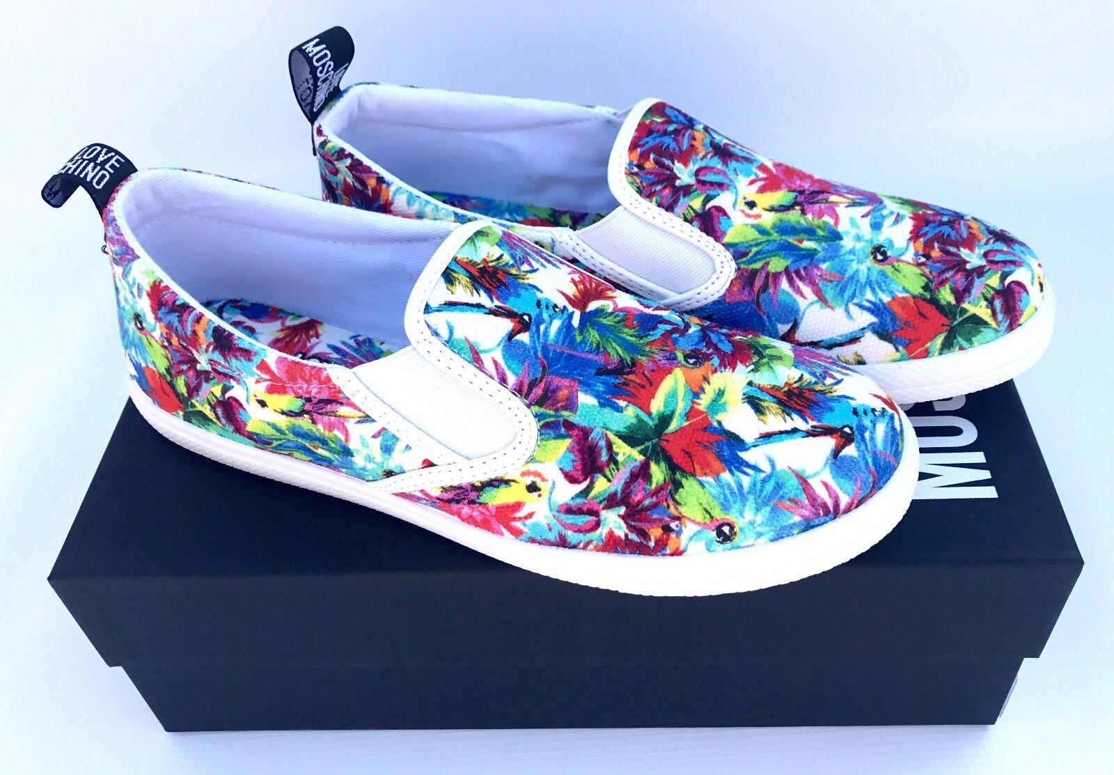 AMORE MOSHINO  MultiColoreeeato slittamento Floreale su scarpe da ginnastica - dimensione Regno Unito - Nuovo  100% autentico
