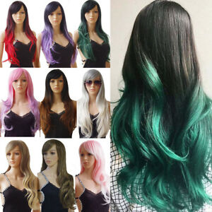 Real Thick Womens Full Head Wigs Long Ombre Hair Wig Black Brown