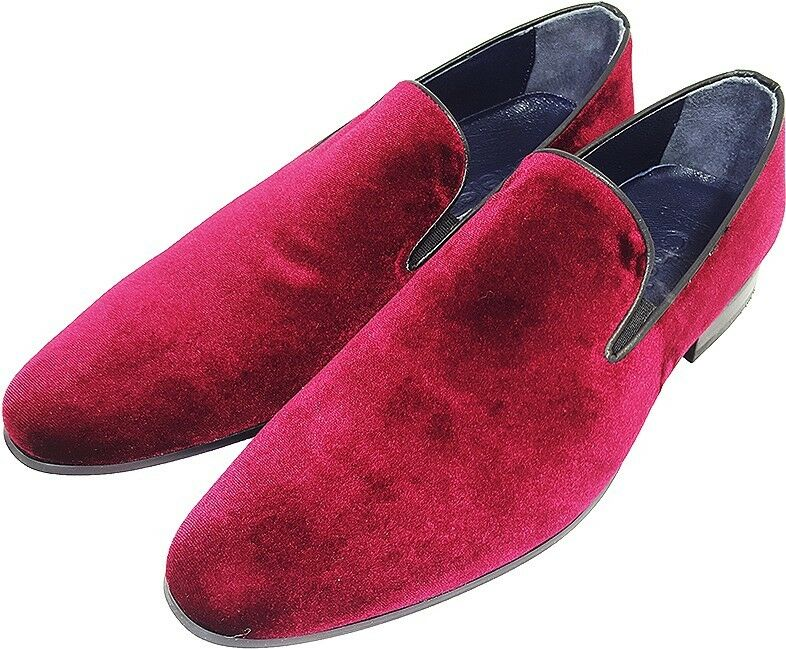Original CHELSY-ITALIAN Designer Casual Party Slip On Horse Fur rojo 43
