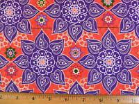 Heart Flower Katmandu Cotton Fabric By The Yard