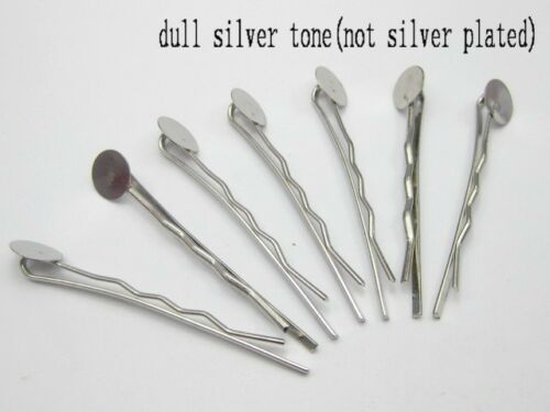 50 Silver Tone Métal Bobby épingle à cheveux pinces avec 8 mm Pad