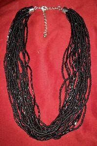 Vintage-Torsade-Multi Strand-black- Glass Seed Bead-Choker-Necklace-beaded