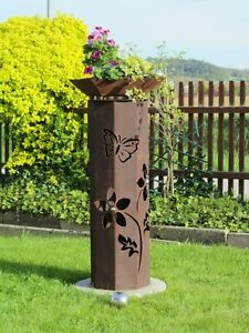 8Eck-Saeule-Rost-Blume-Saeule-Edelrost-Metall-Garten-Deko-Stele-Rost-Deko-Pflanzen