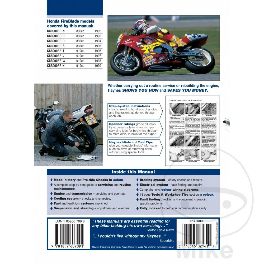 honda cbr900rr fireblade haynes workshop manual 92 to 97 1995 Honda Cbr900rr Wiring Diagram