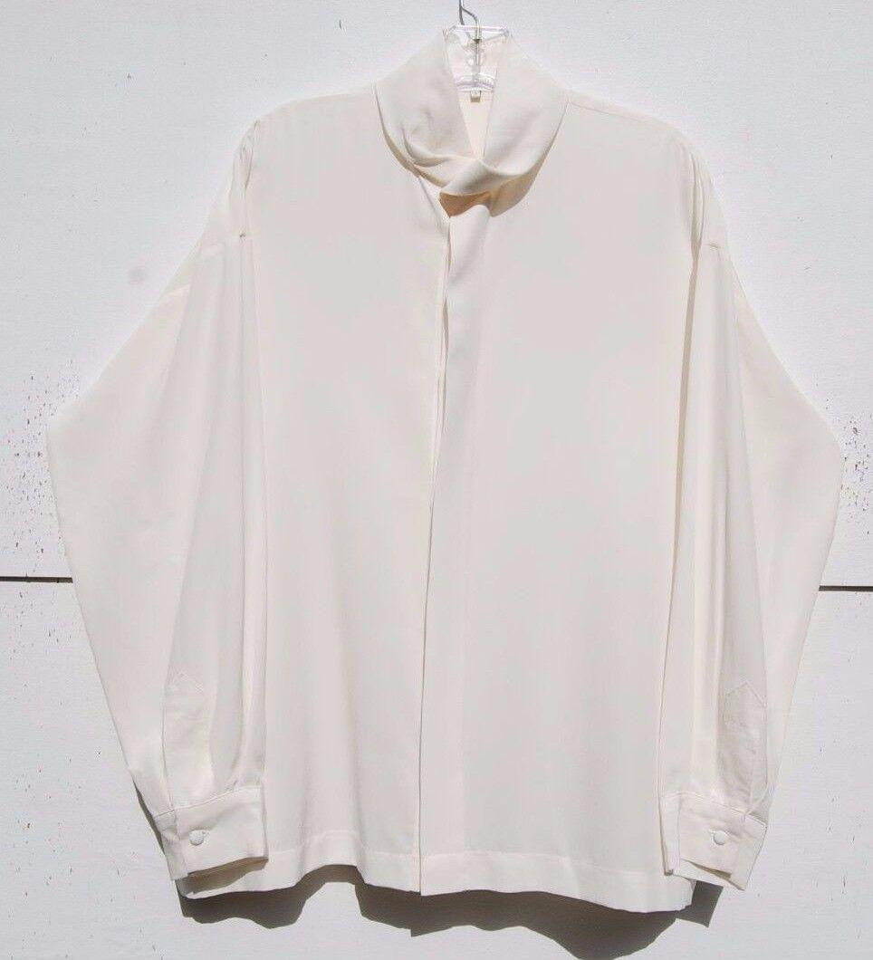 NEW Eskandar CREAM Medium Weight Silk Pleated Collar 27  Long Blouse (2)