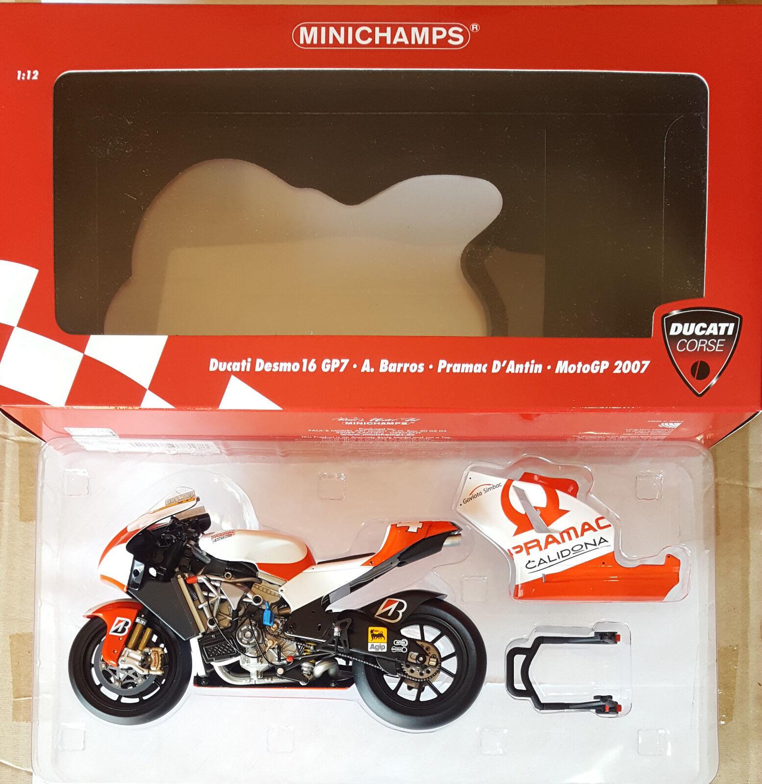 MINICHAMPS Ducati Desmo16 GP7 ALEX BARROS BARROS BARROS Moto GP 2007 1 12 2cef94