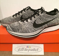 NIKE FLYKNIT RACER OREO 1.0 US UK7 8 9 10 11 12 Black White 526628-101 HTM 2016