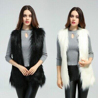 Femme Fausse Fourrure Veste Gilet Débardeur sans Manche Manteau à Moelleux Chaud | eBay