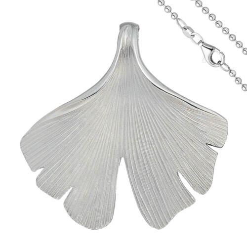 Anhänger mit Halskette Ginkgoblatt aus 925 Silber mattiert 45cm Ginko Ginkgo