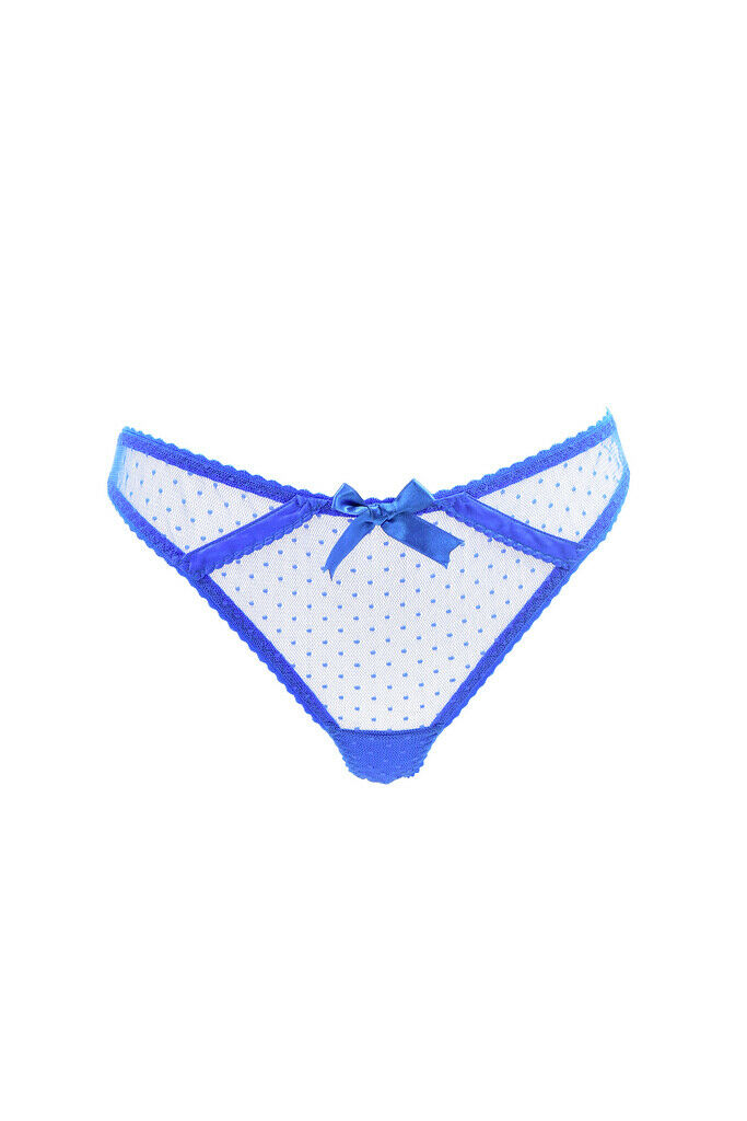 Agent Provocateur Womens Bright Mesh Thong Polka Dot bluee Size S
