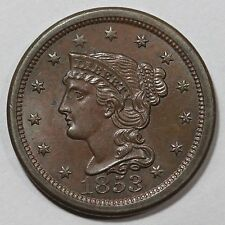 1853 N-11 R-2 E-MDS TCC#8, #2 for the Die State Braided Hair Large Cent Coin 1c