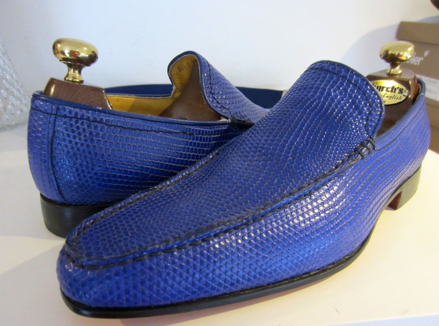 Haute Couture Hand Made Electric Blau Leder Leder Leder Loafers schuhe UK 8 EU 42  Belt f860e4