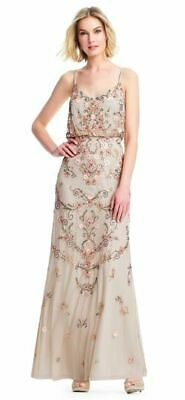 Prom 10 to 18 Adrianna Papell Women/'s Floral Beaded Long Ivory Dress Evening