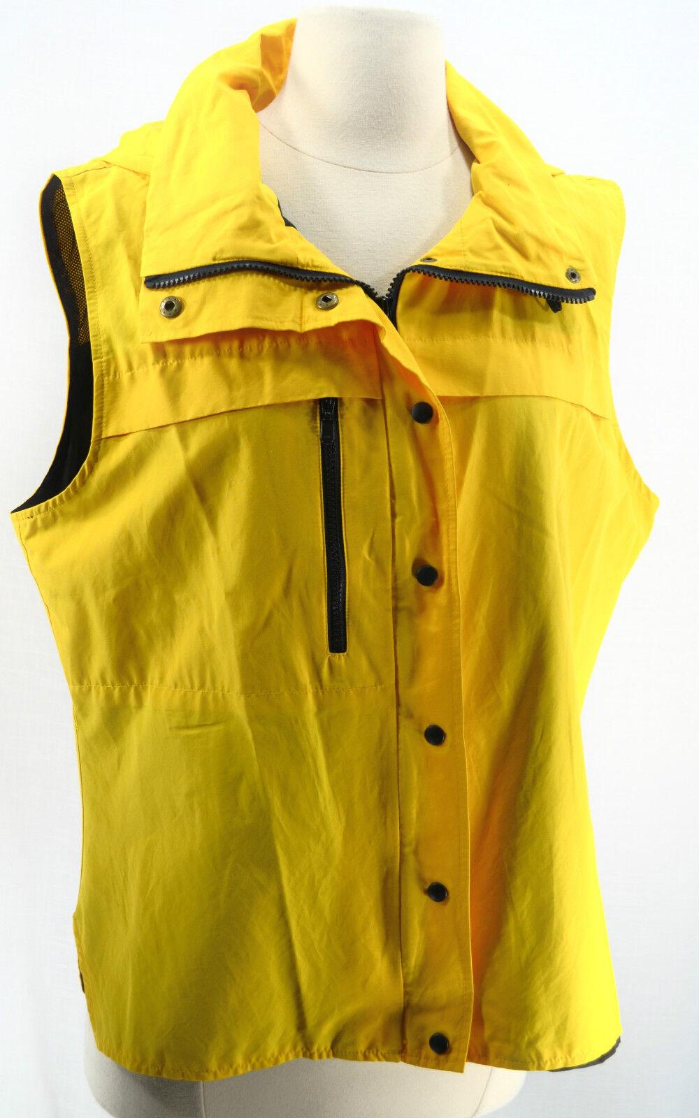 JONES NEW YORK SPORT Mustard Nautical Hooded Nylon ZIP VEST coat top SIZE L
